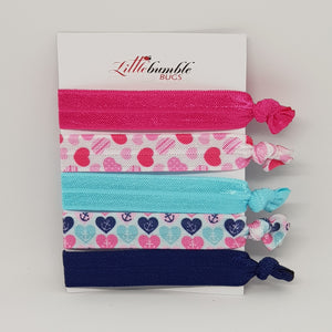 Yoga Hair Tie Set - Hearts / Valentine