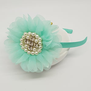 Headbands - Large Chiffon Petals Parisian Flowers with Bling
