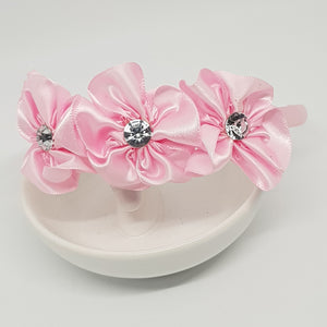 Headbands - 3 Satin Flowers with Bling Centres