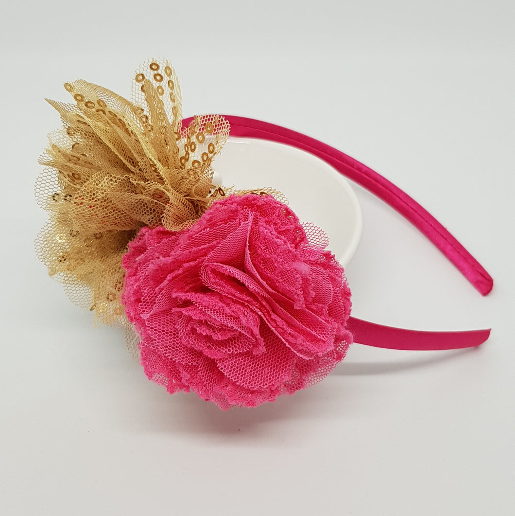 Flower Headband - Gold Sequin & Pink Flowers on Satin