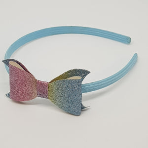Headband - 3 Inch Glitter & Leatherette Bows
