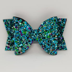 3.25 Inch Chunky Glitter Bow - Peacock