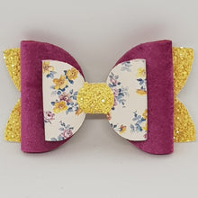 3.5 Inch Imogen Double Suede, Glitter & Floral Bow - Raspberry, Mustard & White