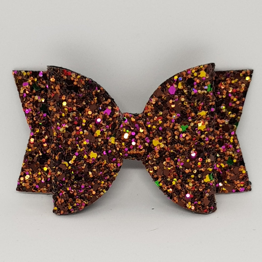 3.25 Inch Chunky Glitter Bow -  Fallen Leaves