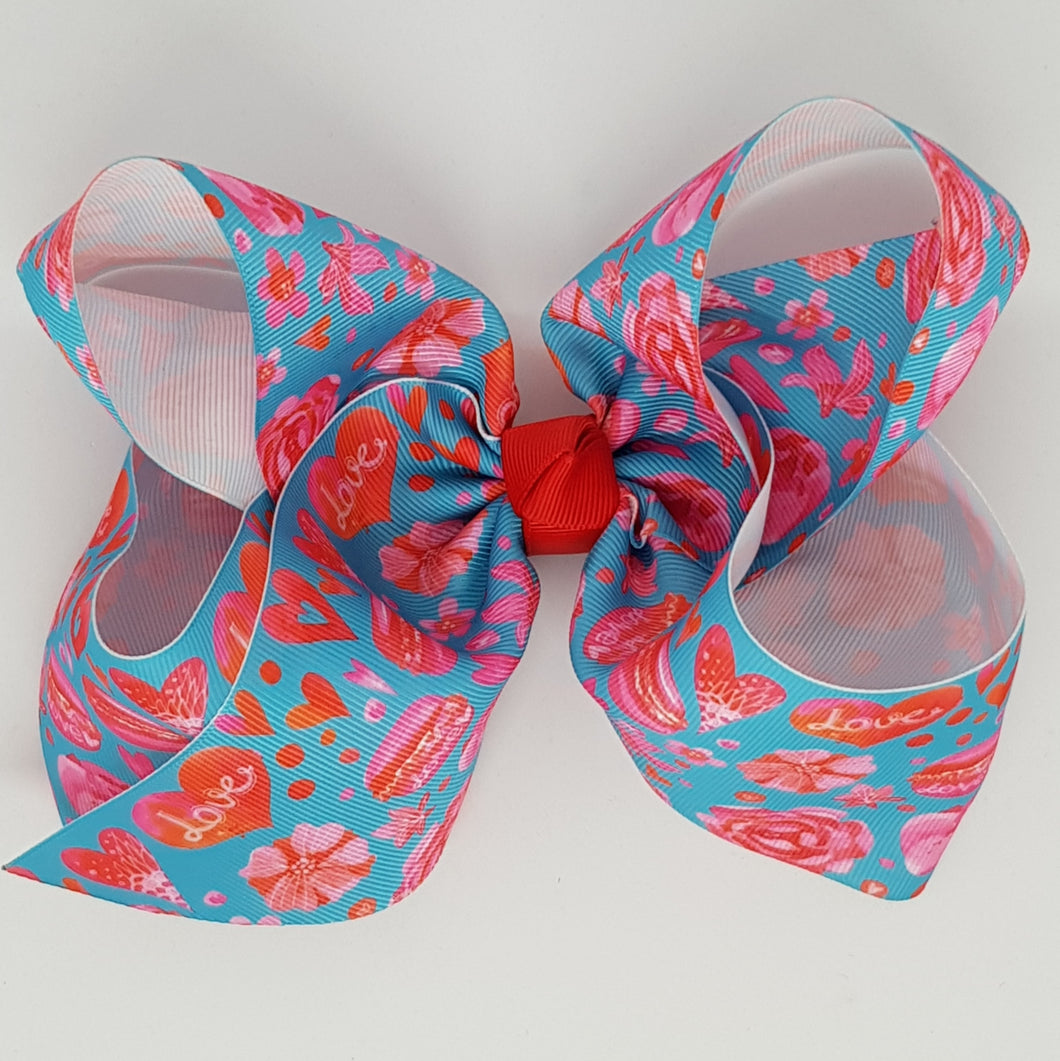 8 Inch Boutique Bow - Hearts, Flowers & Macaroons