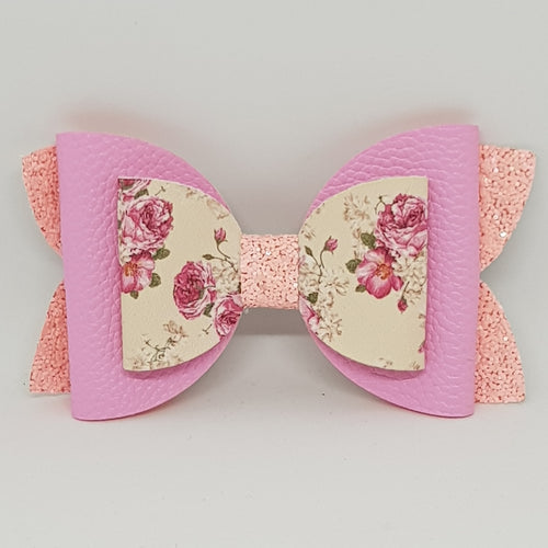 6 Inch Imogen Double Chunky Glitter Bow - Pink & Pink Floral