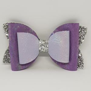 6 Inch Imogen Double Chunky Glitter Bow - Lavender & Silver