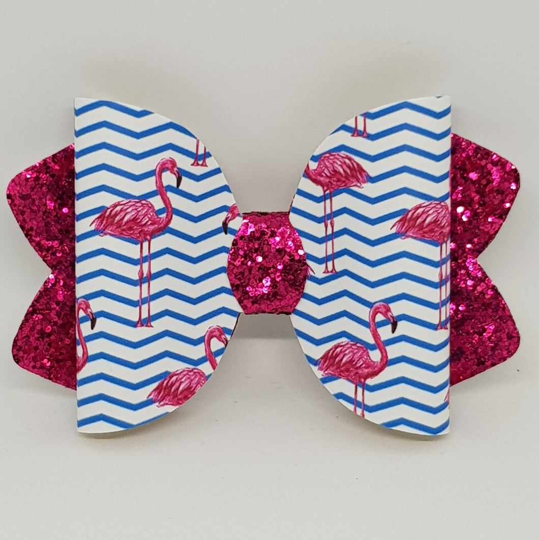 4.25 Inch Ava Leatherette Bow - Flamingo