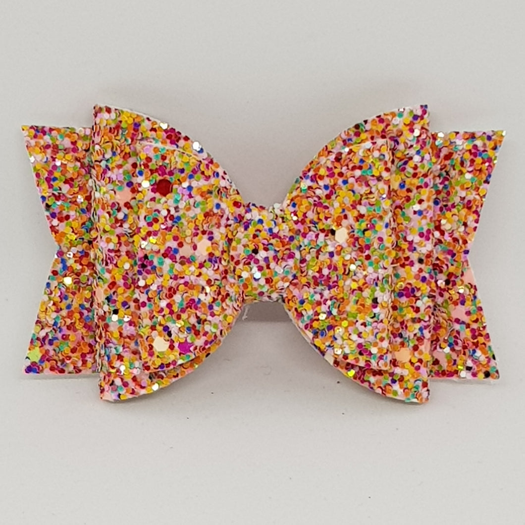 3.25 Inch Chunky Glitter Olivia Double Bow - Freckled Fun
