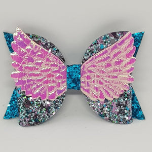 4 Inch Glitter Angel Wings Bow - Sparkle & Sass on Turquoise with Pink/Purple Wings