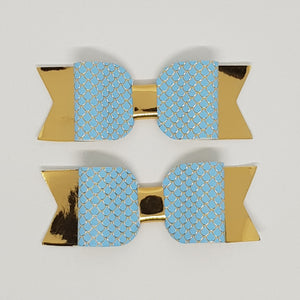 3.25 inch Sophie Leatherette Bow Set of 2 - Mermaid Scale