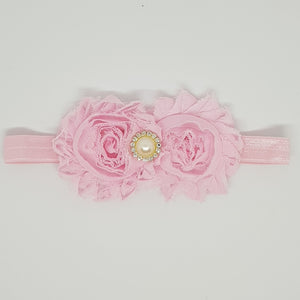 Flower Headband - Double Shabby Chic Rose