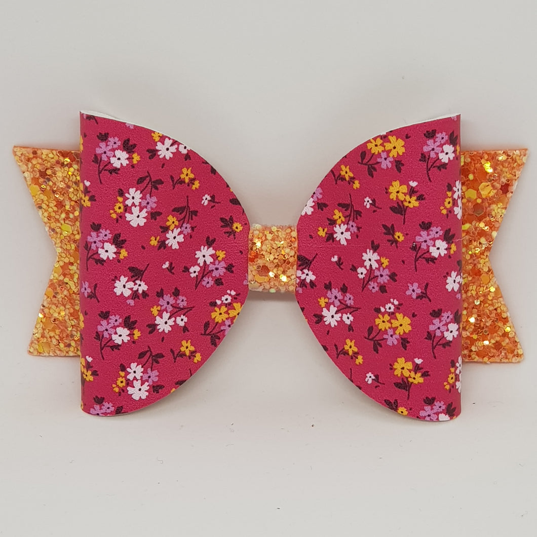 4.3 Inch Natalie Bow - Bright Petite Blooms
