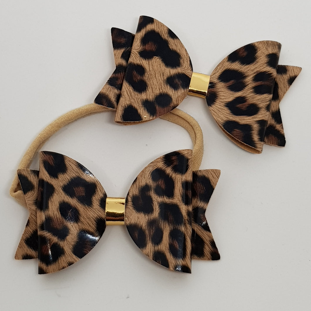 3.25 Inch Natalie Leatherette Bow - Leopard with Gold