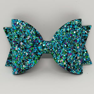 4.3 Inch Natalie Bow - Peacock Chunky Glitter