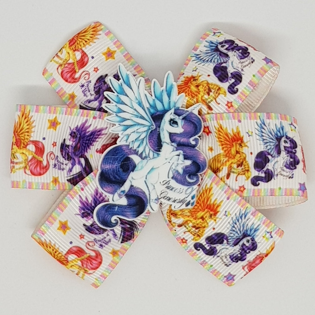 3.5 Inch Pinwheel Bow - My Little Ponies as Unicorns