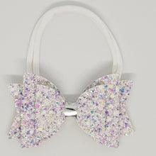 3.25 Inch Natalie Chunky Glitter Leatherette Bow - Unicorn Tears with Silver