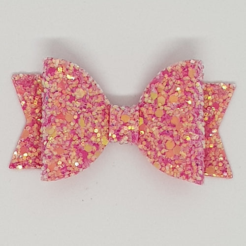 2.5 Inch Natalie Leatherette Bow - Raspberry Frosted Glitter