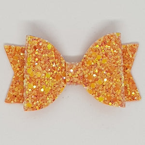 2.5 Inch Baby Natalie Leatherette Bow - Orange Frosted Glitter