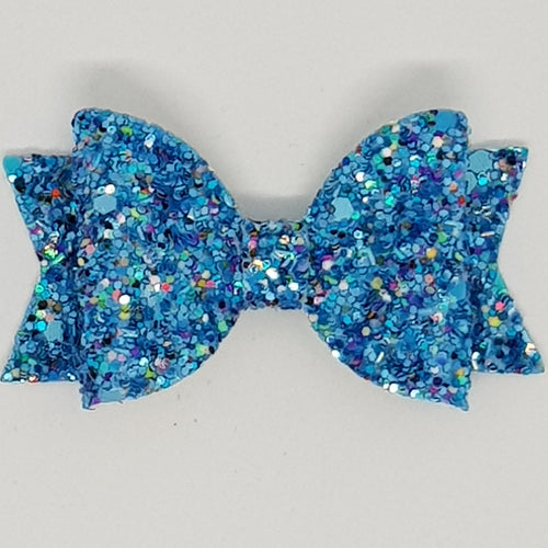 2.5 Inch Baby Natalie Leatherette Bow - Mermaizing Frosted Glitter