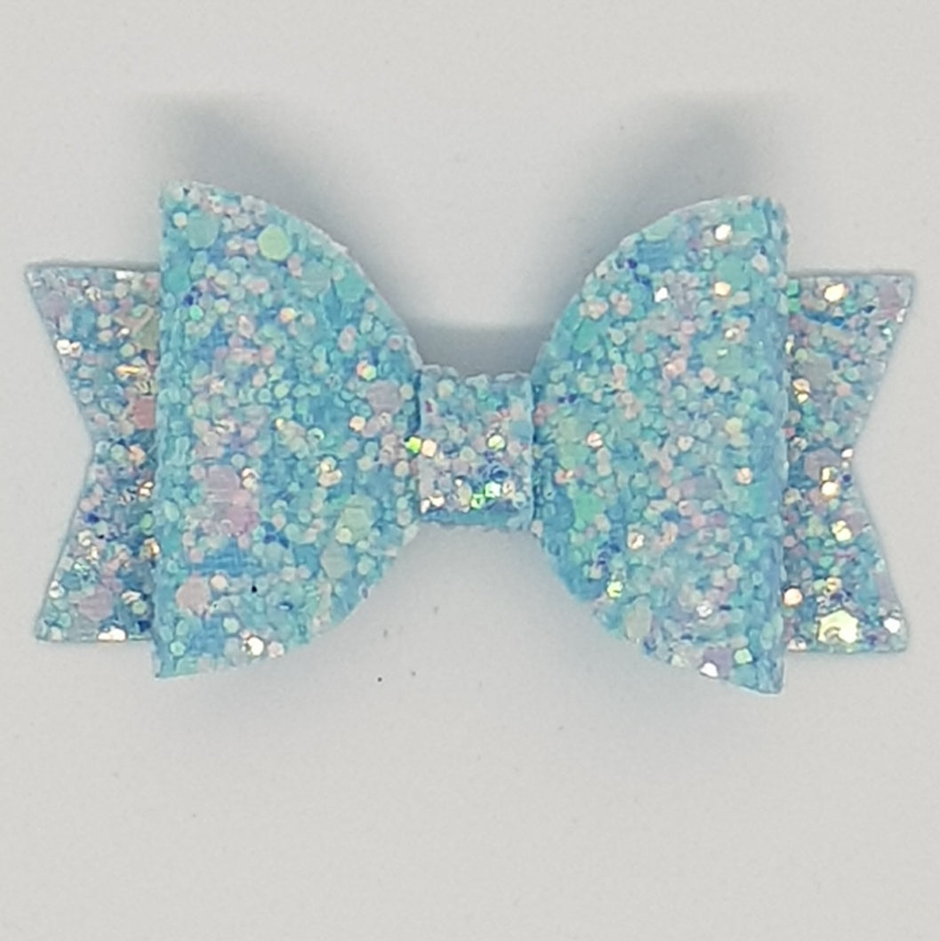 2.5 Inch Baby Natalie Bow - Bluebell Frosted Glitter