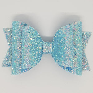4.3 Inch Natalie Double Leatherette Bow - Bluebell Frosted Glitter