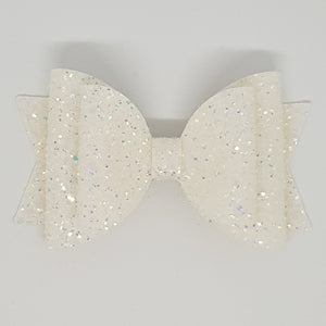 4.3 Inch Natalie Bow - Coconut Ice Chunky Glitter