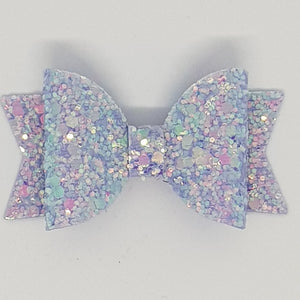 2.5 Inch Baby Natalie Leatherette Bow - Lilac Mist Frosted Glitter