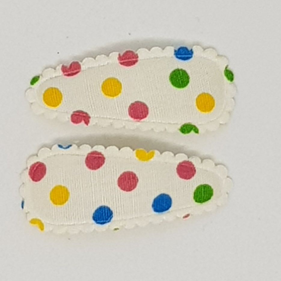 3 cm Baby Snap Clip Sets of 2 - Multi Coloured Spots