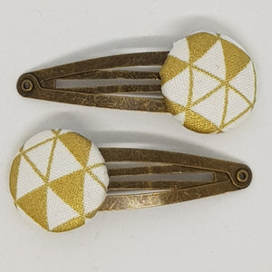 Large Button 5 cm Snap Clips - Gold Triangles