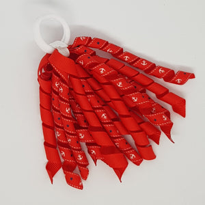 5 Inch Korker - White Anchors on Red with Red