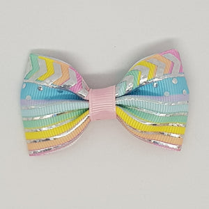 2.5 Inch Tuxedo Hair Bows - Silver Foil Spots, Stripes & Chevron