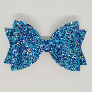 4.3 Inch Natalie Double Leatherette Bow - Mermaizing Frosted Glitter
