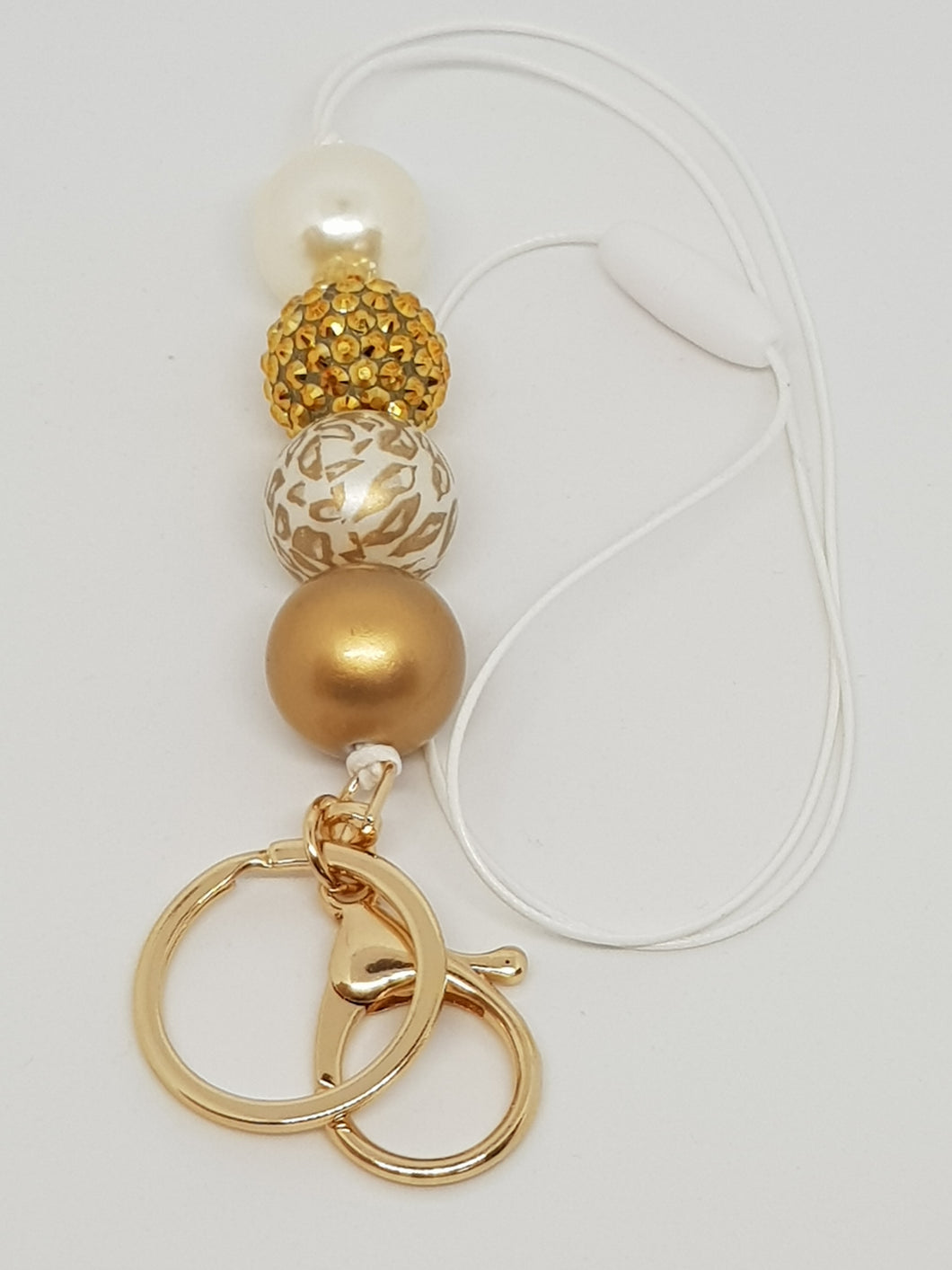 Bubblegum Bling Lanyard with Clip and Key Ring - Golden Girl