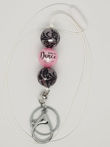 Bubblegum Bling Lanyard with Clip and Key Ring - Born to Dance