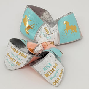 4 Inch Boutique Bow - Gold Foil Believe in Your Dreams