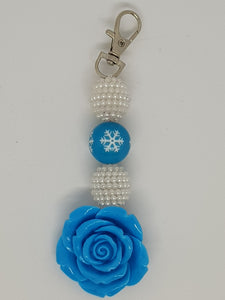 Key Ring / Bag Bling - Winter Snowflake Blue Rose