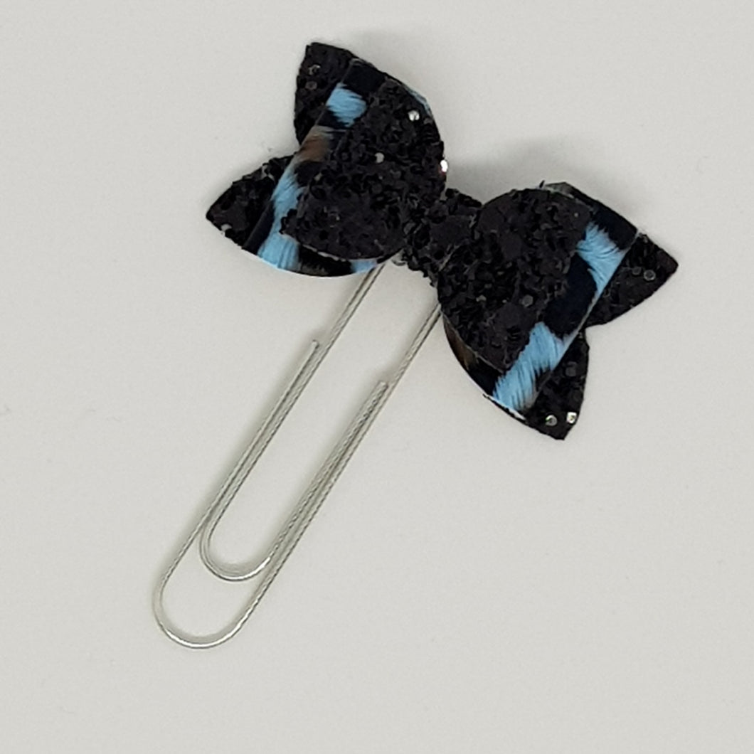 1.75 Inch Baby Imogen Bow Planner Clip - Leopard Print