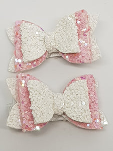 1.75 Inch Baby Imogen Bow - Iridescent Pink & White