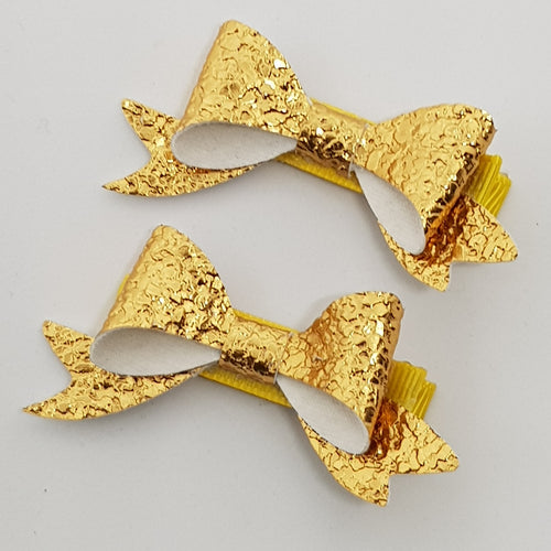 2.5 Inch Baby Beau Bow Set of 2 - Gold Pebble