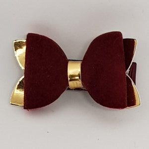 1.75 Inch Baby Imogen Bow - Suede & Gold