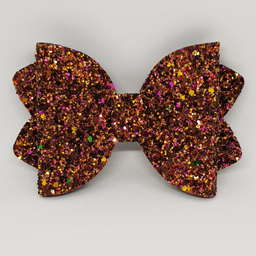 4.25 Inch Ava Chunky Glitter Bow - Fallen Leaves