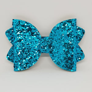 4.25 Inch Ava Chunky Glitter Bow - Turquoise