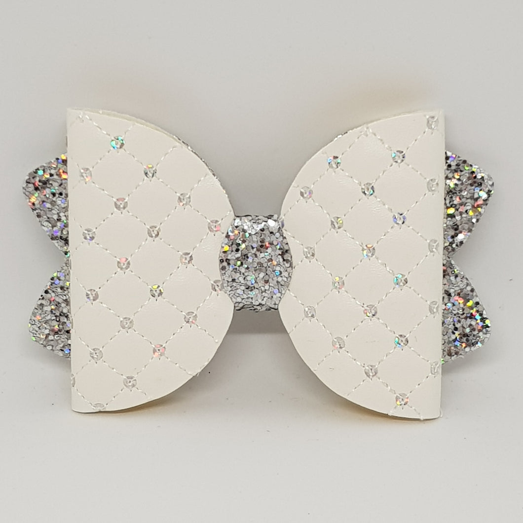 4.25 Inch Ava Leatherette Bow - Quilted with Sequins