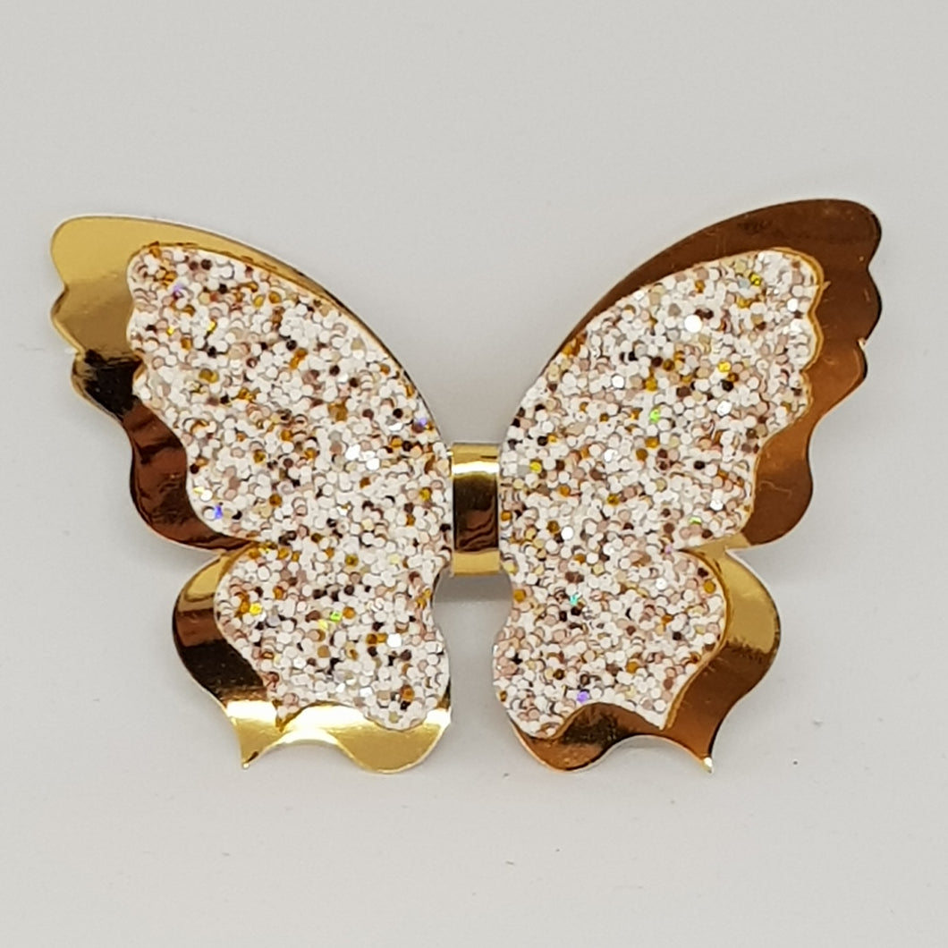 Double Fancy Butterfly Clip - A Sprinkle of Gold