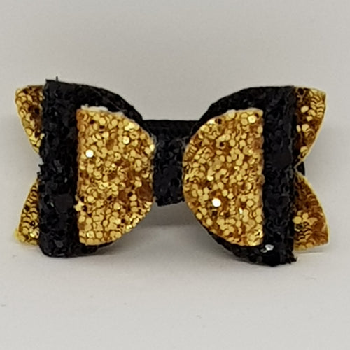 1.75 Inch Baby Imogen Bow - Black & Gold