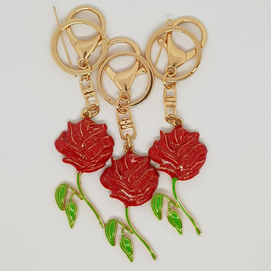 Key Ring / Bag Bling - Red Rose