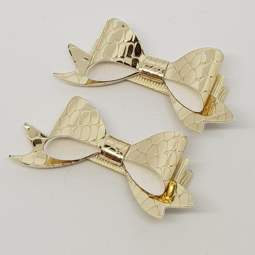 2.5 Inch Baby Beau Bow Set of 2 - Pale Gold Serpentine