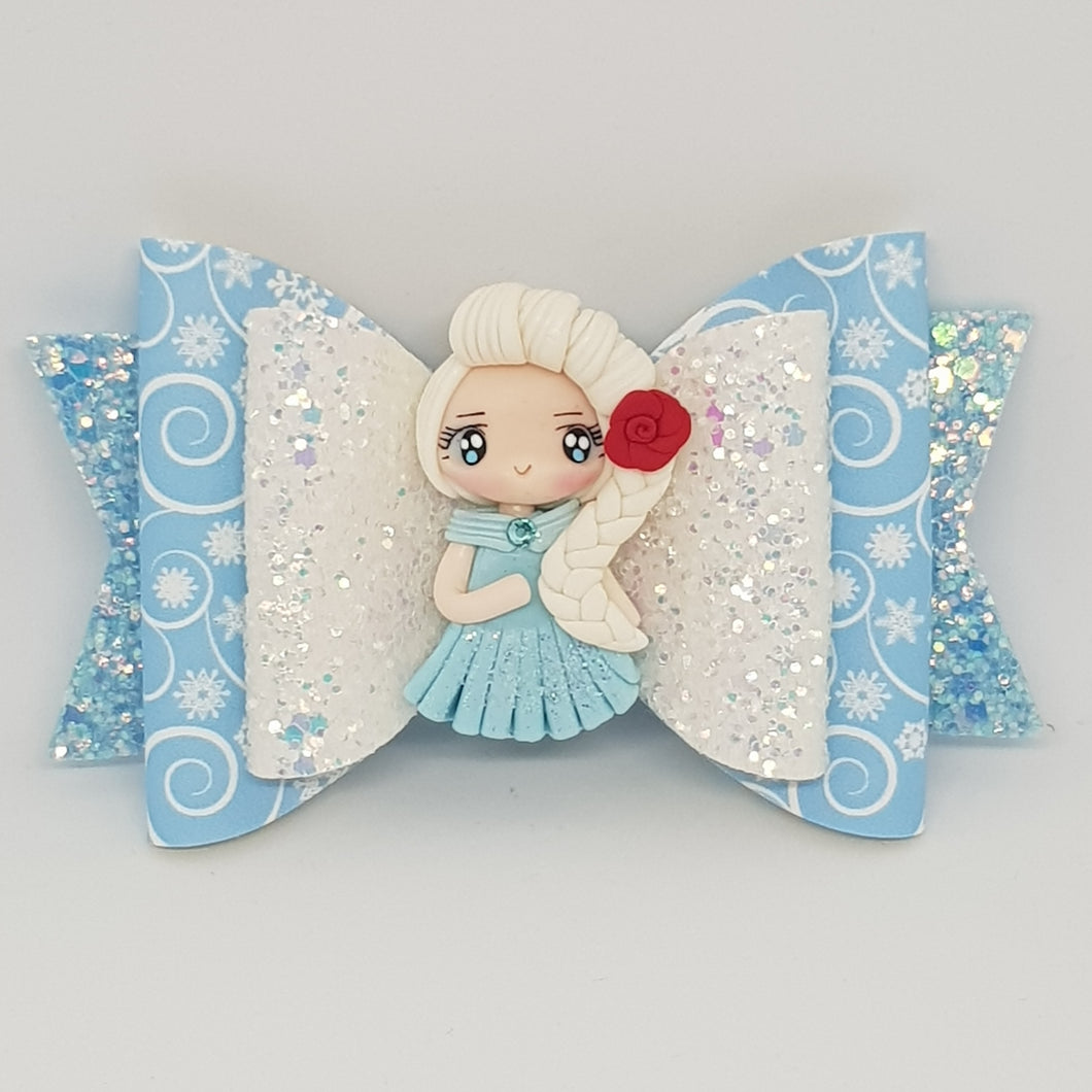 4.3 Inch Deluxe Natalie Bow - Elsa Inspired Winter Swirls