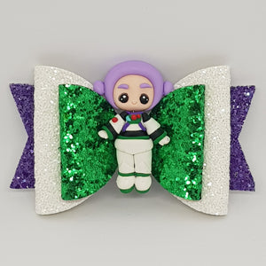 4.3 Inch Natalie Deluxe Double Leatherette Bow - Buzz Lightyear Inspired